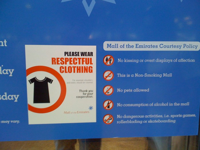Mall sign in clothing