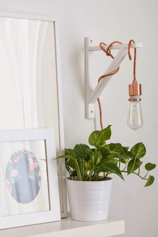 rose gold hanging pendant on ikea shelf bracket