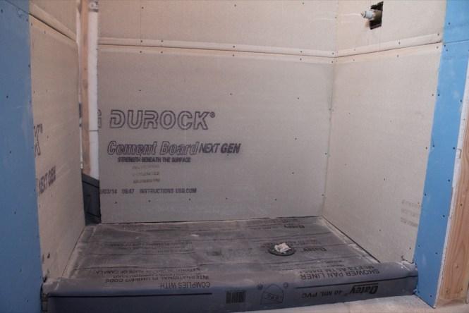 Durock cement board, 40 mil membrane shower floor