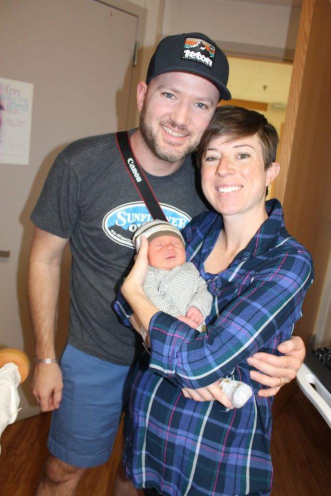 Kelly, Jesse, Baby Henry James leaving hospital Cheyenne