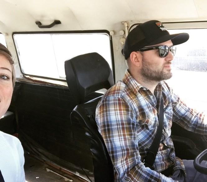 Jesse driving 1979 VW Bus