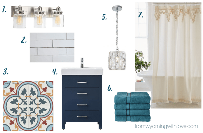 Mini-master Bathroom spanish modern moodboard