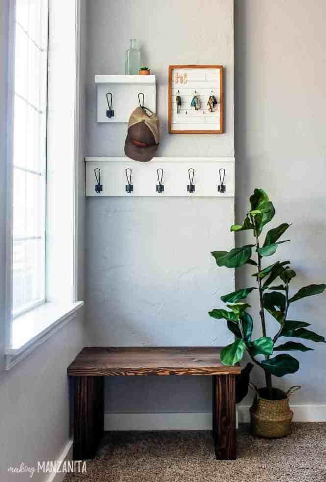 Small-corner-entryway-with-DIY-wood-bench - Making Manzanita