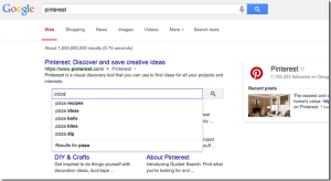 Pinterest Desktop searchbar example on search result page