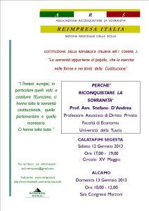 12 e 13 gennaio: l'ARS a Calatafimi Segesta e ad Alcamo