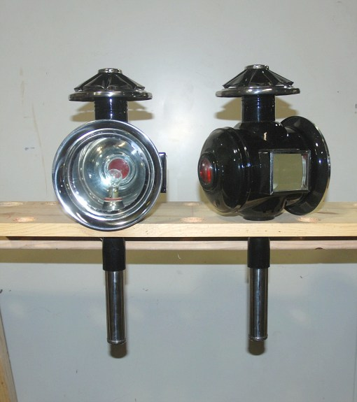 Pair Black & Stainless Full Size Carriage Lamps 12 volt