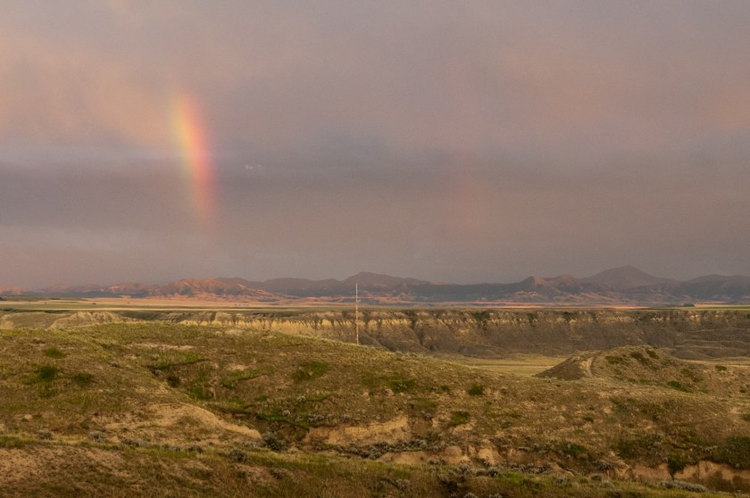 Rainbow against the Highwood Mountains in Montana
