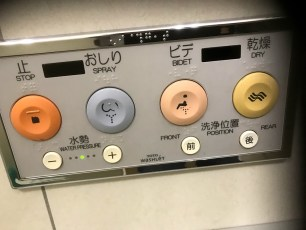 Feature panel on public toilet.
