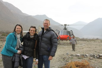 Setting off for Lo Manthang Jean Pickard, Martha Merle, and Greg Tepper