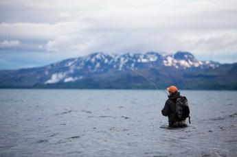 Angus Walton wades deep, Lake Thingvallavatn…