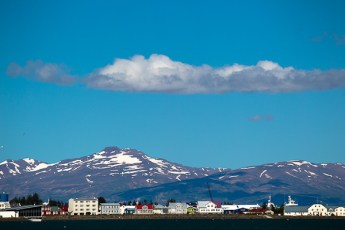 Looking back to Akureyri from the bridge.