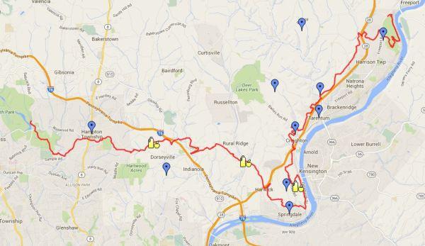 Trail Map Route via Google Maps
