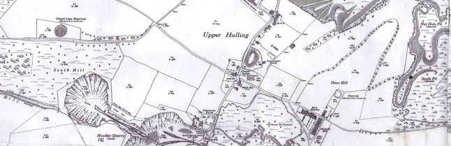 OS Map printed in 1936 naming the two quarries.
