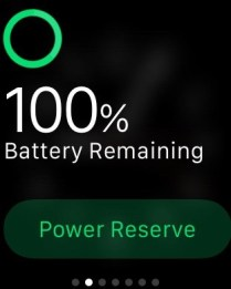 Battery status screen.