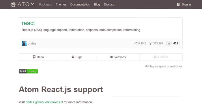 Atom React support
