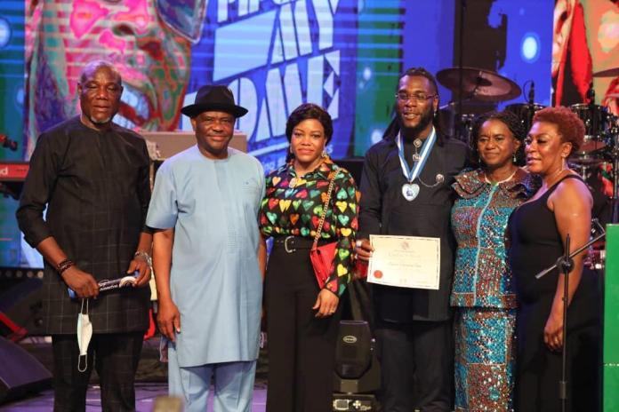 Grammy: Wike bestows Rivers highest award on Burna Boy, showers gifts