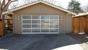 Modern Classic gray garage door with glass