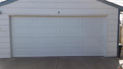 Front View White Garage door