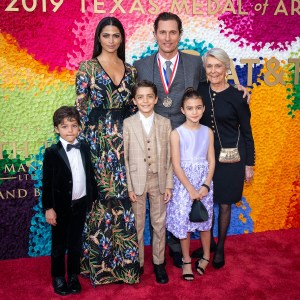 Camilla Alves and Matthew McConaughey (Film) and family at the Texas Medal of Arts Awards Red Carpet, Long Center, Austin, TX 2/27/2019. © 2019 Jim Chapin Photography