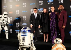 "File: From left to right, J.J. Abrams, Kathleen Kennedy, Daisy Ridley, John Boyega, attend the premiere of ""Star Wars: The Force Awakens"" on Dec. 27, 2015 in Shanghai, China. HU CHENGWEI/GETTY IMAGES"