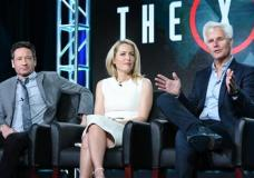 """FILE - In this Friday, Jan. 15, 2016 file photo, actors David Duchovny, from left, Gillian Anderson and creator/executive producer Chris Carter participate in """"The X Files"""" panel at the Fox Winter TCA in Pasadena, Calif. The television series debuts with a special two-night event beginning Sunday, Jan. 24, 2016, 10:00-11:00 PM ET/7:00-8:00 PM PT, and continuing with its time period premiere on Monday, Jan. 25, 8:00-9:00 PM ET/PT on FOX. (Photo by Richard Shotwell/Invision/AP, File)"""