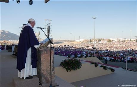 Pope Francis speaks during a mass he celebrated in Ciudad Juarez, Mexico, Wednesday, Feb. 17, 2016. Francis is on his way back to Italy after a five-day visit in Mexico. (L' Osservatore Romano/Pool photo via AP)