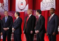 Republican presidential candidates, from left, Ohio Gov. John Kasich, former Florida Gov. Jeb Bush, Sen. Ted Cruz, R-Texas, businessman Donald Trump, Sen. Marco Rubio, R-Fla., retired neurosurgeon Ben Carson take the stage before the CBS News Republican presidential debate at the Peace Center, Saturday, Feb. 13, 2016, in Greenville, S.C. (AP Photo/John Bazemore)