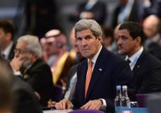US Secretary of State John Kerry looks on during the 'Supporting Syria and the Region' conference at the Queen Elizabeth II Conference Centre in London, Thursday Feb. 4, 2016. Leaders and diplomats around the world are meeting in London Thursday and pledging some billions of dollars to help millions of Syrian people displaced by war, and try to slow the chaotic exodus of refugees into Europe. (Stefan Rousseau/Pool via AP)