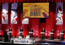 Republican presidential candidates, from left, Ohio Gov. John Kasich, former Florida Gov. Jeb Bush, Sen. Ted Cruz, R-Texas, businessman Donald Trump, Sen. Marco Rubio, R-Fla., retired neurosurgeon Ben Carson participate during the CBS News Republican presidential debate at the Peace Center, Saturday, Feb. 13, 2016, in Greenville, S.C. (AP Photo/John Bazemore)