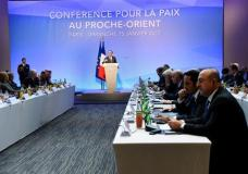 French President Francois Hollande delivers his speech at the opening of the Mideast peace conference in Paris, Sunday, Jan. 15, 2017. Fearing a new eruption of violence in the Middle East, more than 70 world diplomats gathered in Paris on Sunday to push for renewed peace talks that would lead to a Palestinian state. (Bertrand Guay/Pool Photo via AP)