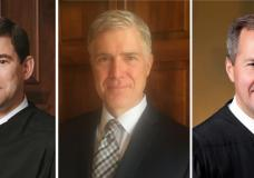 (L-R) William Pryor, a judge on the Atlanta-based 11th U.S. Circuit Court of Appeals, Neil Gorsuch, a judge on the Denver-based 10th U.S. Circuit Court of Appeals; and Thomas Hardiman, who serves on the Philadelphia-based 3rd U.S. Circuit Court of Appeals.