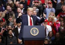 President Donald Trump speaks at a rally Wednesday, March 15, 2017, in Nashville, Tenn. (AP Photo/Mark Humphrey)