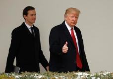 FILE PHOTO: U.S. President Donald Trump gives a thumbs-up as he and White House Senior Advisor Jared Kushner depart the White House in Washington, U.S., March 15, 2017. REUTERS/Kevin Lamarque