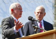 FILE - in this April 21, 2017, file photo, Attorney General Jeff Sessions, left, speaks as Secretary of Homeland Security John Kelly, right, listen during a news conference at the U.S.-Mexican border next to the Brown Field Border Patrol Station in San Diego. (Hayne Palmour IV/The San Diego Union-Tribune via AP)