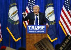 FILE - In this March 1, 2016 file photo, Republican presidential candidate Donald Trump speaks during a rally in Louisville, Ky. On Friday, March 31, 2017, a federal judge rejected Trump's free speech defense against a lawsuit accusing him of inciting violence against protesters during his campaign. (AP Photo/John Bazemore, File)