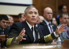 FILE - In this Wednesday, April 26, 2017, file photo, U.S. Pacific Command Commander Adm. Harry Harris Jr. testifies on Capitol in Washington, Wednesday, April 26, 2017, before a House Armed Services Committee hearing on North Korea. America's top Pacific commander is confident in the ability of a contentious U.S. missile defense system soon to operate in South Korea to shoot down North Korean missiles. But like nearly everything associated with the world's last Cold War standoff the truth is muddier. (AP Photo/Manuel Balce Ceneta, File)