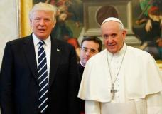 U.S. President Donald Trump stands with Pope Francis during a meeting, Wednesday, May 24, 2017, at the Vatican. (AP Photo/Evan Vucci, Pool)