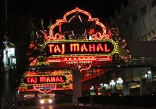 This Oct. 24, 2014 photo shows the entrance to the Trump Taj Mahal Casino resort in Atlantic City N.J. Billionaire investor Carl Icahn has revealed in documents filed with federal securities regulators that he sold the shuttered Taj Mahal, which Donald Trump, the now-president of the United States built for $1.2 billion in 1990, for $50 million to Hard Rock International, or about 4 cents on the dollar from what Trump spent on it. (AP Photo/Wayne Parry)