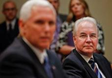 Health and Human Services Secretary Tom Price, right, listens to Vice President Mike Pence, left, speak during a meeting on healthcare reform in the Roosevelt Room of the White House in Washington, Monday, June 5, 2017. (AP Photo/Pablo Martinez Monsivais)