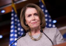 FILE - In this Feb. 16, 2017, file photo, House Minority Leader Nancy Pelosi of Calif. listens during a news conference on Capitol Hill in Washington. The AP reported on July 14, 2017, that a series of stories circulating online regarding a drug bust involving Pelosi's daughters is a hoax. (AP Photo/J. Scott Applewhite, File)