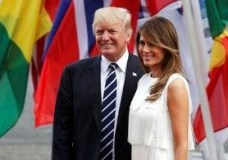 U.S. President Donald Trump, left, and his wife Melania arrive for a concert on the first day of the G-20 summit in Hamburg, northern Germany, Friday, July 7, 2017. The leaders of the group of 20 meet July 7 and 8. (AP Photo/Michael Sohn)