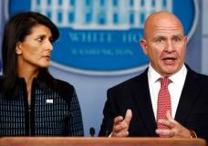 National security adviser H.R. McMaster, right, and U.S. Ambassador to the UN Nikki Haley, participate in a news briefing at the White House, in Washington, Friday, Sept. 15, 2017. (AP Photo/Carolyn Kaster)