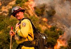 A crew member with California Department of Forestry and Fire Protection (Cal Fire) battles a brushfire on the hillside in Burbank, Calif., Saturday, Sept. 2, 2017.  Several hundred firefighters worked to contain a blaze that chewed through brush-covered mountains, prompting evacuation orders for more than 600 homes in Los Angeles, Burbank and Glendale. (AP Photo/Ringo H.W. Chiu)