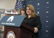 Del. Jenniffer Gonzalez, D-Puerto Rico, joined at left by Rep. Cathy McMorris Rodgers, R-Wash., talks about hurricane damage in Puerto Rico, at the Capitol in Washington, Wednesday, Oct. 11, 2017. Speaker of the House Paul Ryan, R-Wis., will visit Puerto Rico this week. (AP Photo/J. Scott Applewhite)