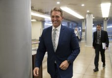 Sen. Jeff Flake, R-Ariz., a member of the Foreign Relations Committee, arrives for the start of a closed-door security briefing at the Capitol in Washington, Wednesday, Oct. 25, 2017. (AP Photo/J. Scott Applewhite)