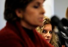 Summer Zervos (R) listens as her attorney Gloria Allred (L) speaks to reporters about her defamation lawsuit against U.S. President Donald Trump ahead of the Women's March on Washington in Washington January 21, 2017. REUTERS/James Lawler Duggan