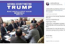 "George Papadopoulos, third from left, meets with then-presidential candidate Donald Trump in @realdonaldtrump Instagram post from the Trump International Hotel on March 31, 2016. Donald Trump stated ""realdonaldtrumpMeeting with my national security team in #WashingtonDC. #Trump2016"" Photo Credit: Instagram / @realdonaldtrump"