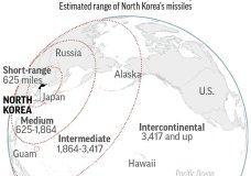 Map shows missile ranges of North Korea's arsena; 2c x 2 3/4 inches; 96.3 mm x 69 mm;