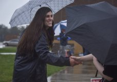Danica Roem, who is running for house of delegates against GOP incumbent Robert Marshall, campaigns as voters take to the ballot boxes at Gainesville Middle School on Tuesday, Nov. 7, 2017, in Gainesville, Va. If Roem wins, she would be the first transgender legislator elected in the USA. (Jahi Chikwendiu /The Washington Post via AP)