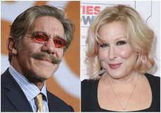 """This combination photo shows Geraldo Rivera at """"The Celebrity Apprentice"""" panel at the NBC 2015 Winter TCA in Pasadena, Calif., on Jan. 16, 2015, left, and Bette Midler at the 15th Annual Movies for Grownups Awards in Beverly Hills, Calif., on Feb. 8, 2016. Midler is renewing an allegation of sexual misconduct against Geraldo Rivera, a day after Rivera called the news business """"flirty."""" In a tweet posted Thursday by Midler and confirmed by her publicist, the actress-singer called on Rivera to apologize for an assault she said occurred four decades ago. (Photo by Richard Shotwell, left, and Rich Fury/Invision/AP, File)"""